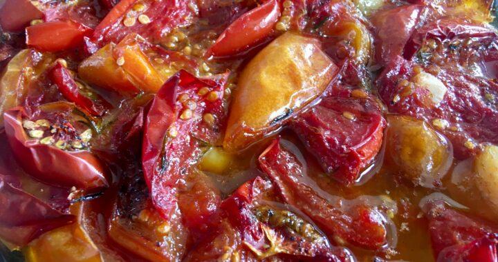 langtidsbagte ovnbagte karameliserede tomater cherrytomater